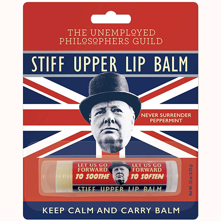 Stiff Upper Lip Balm, in packaging