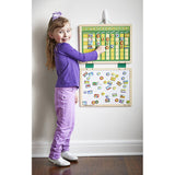 My Magnetic Responsibility Chart hanging on wall with girl posing next to it.