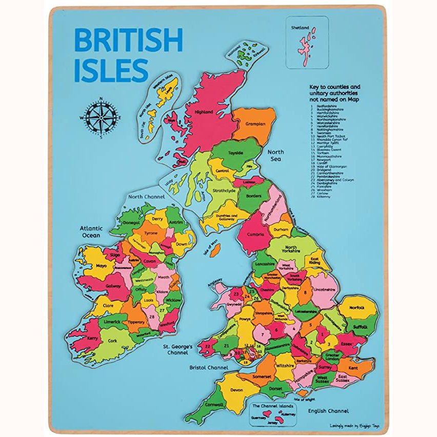 Wooden British Isles Inset Puzzle, complete minus packaging