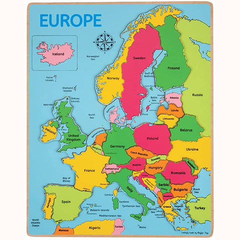 Wooden Europe Inset Puzzle, complete without packaging