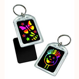 Key Chain Scratch Art Party Pack, close up on designs