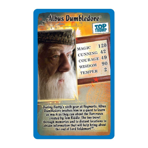 Harry Potter half blood  - Top Trumps Game, Dumbledore sample card
