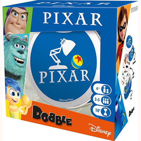 Dobble Pixar, front of box, with slight side view