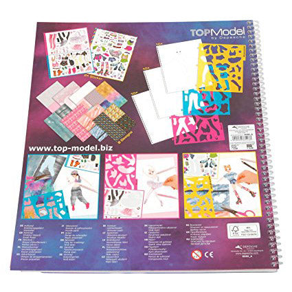 Top Model Dance Colouring Book, back page with details of contents