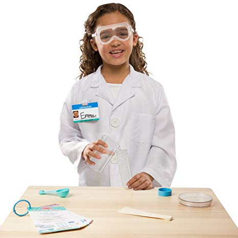 Scientist Role Play Set, modelled by girl with apparatus