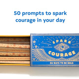 Spark Courage , open box with prompts showing, and slogan