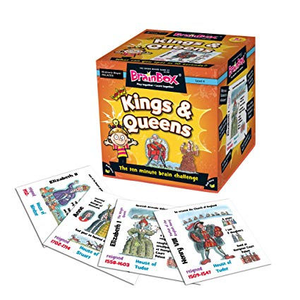 Brain Box - Kings & Queens, box and some cards displayed