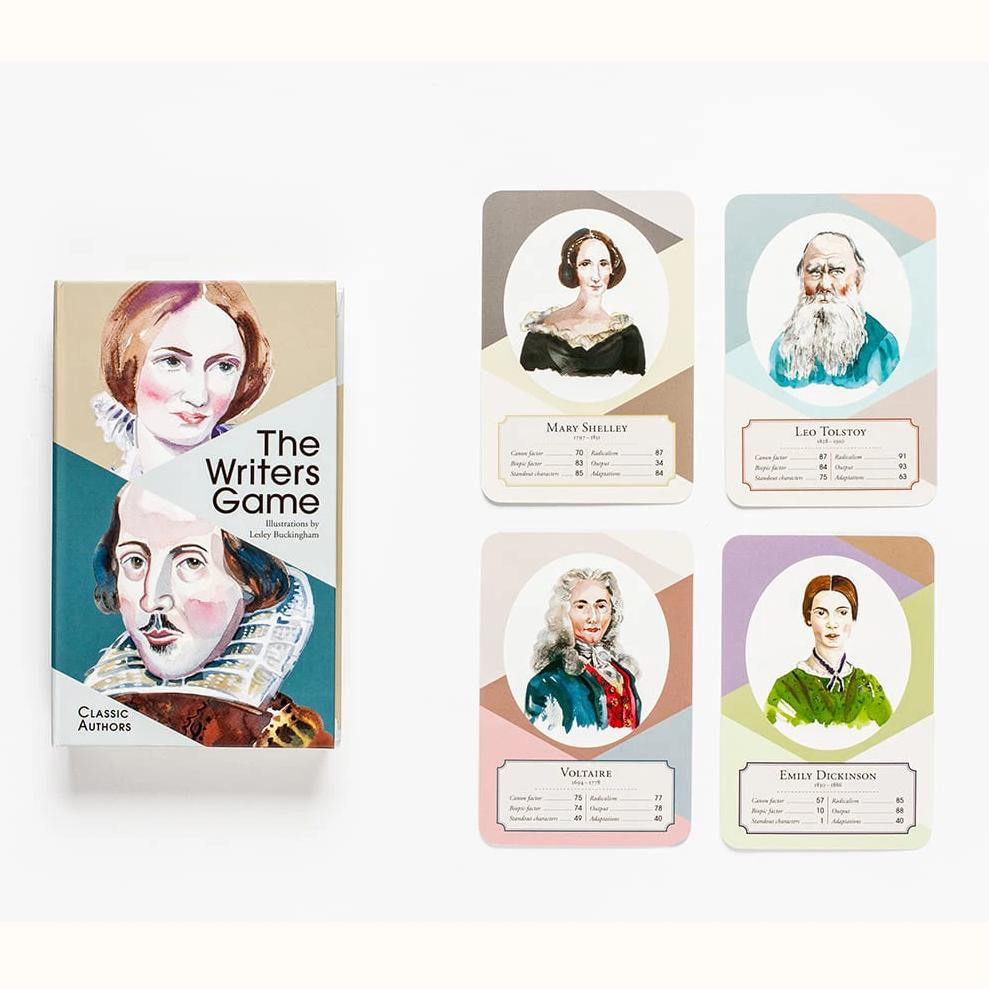The Writers Game - Classic Authors, box and sample cards