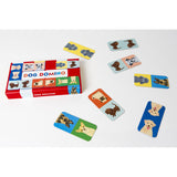 dog domino, box and sample of cards