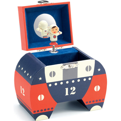 Polo 12 - Musical Box, with lid open and displaying astronaut figure