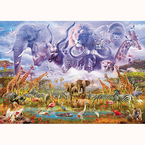 Animals At The Watering Hole Jigsaw Puzzle, finished scene