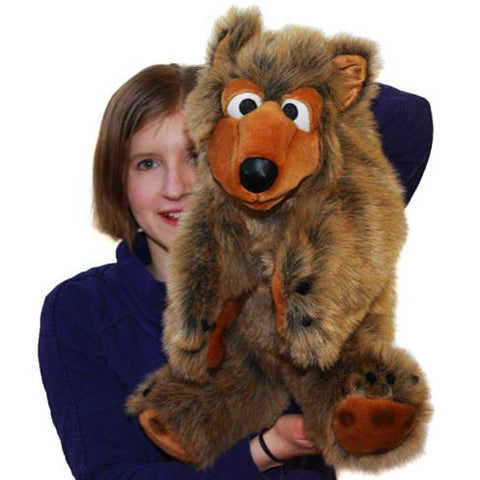 Balthasar the Bear Large Puppet with woman