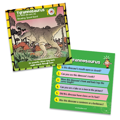 Brain Box - Dinosaurs, T-rex card both sides