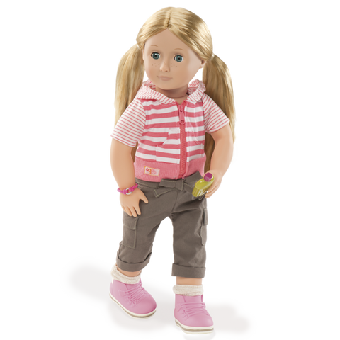 Shannon With Book - Our Generation Deluxe Doll Set, doll unboxed in camping outfit