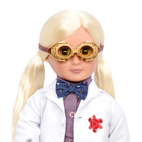 Amelia the Scientist- Our Generation Doll, close up if torso and head with goggles on