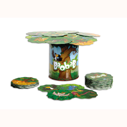 Baobab, mid play with cards balanced on tin