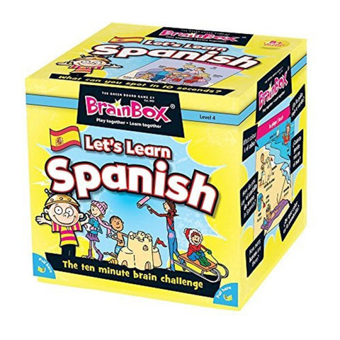 Brainbox let's learn spanish, front on angled box