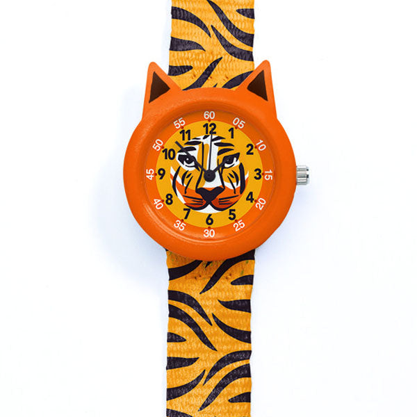 Tiger watch by Djeco, close up of face 2