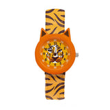 Tiger watch by Djeco, close up of face