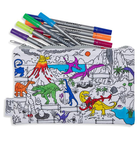 Doodle Pencil Case: Dinosaur Design, with pens
