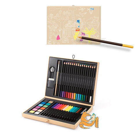 Box of Colours by Djeco, open box and outside colouring design