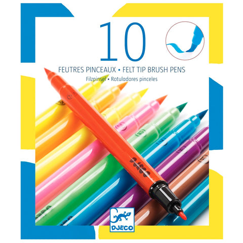 10 Felt Brushes by Djeco - Neon Pop, front of box