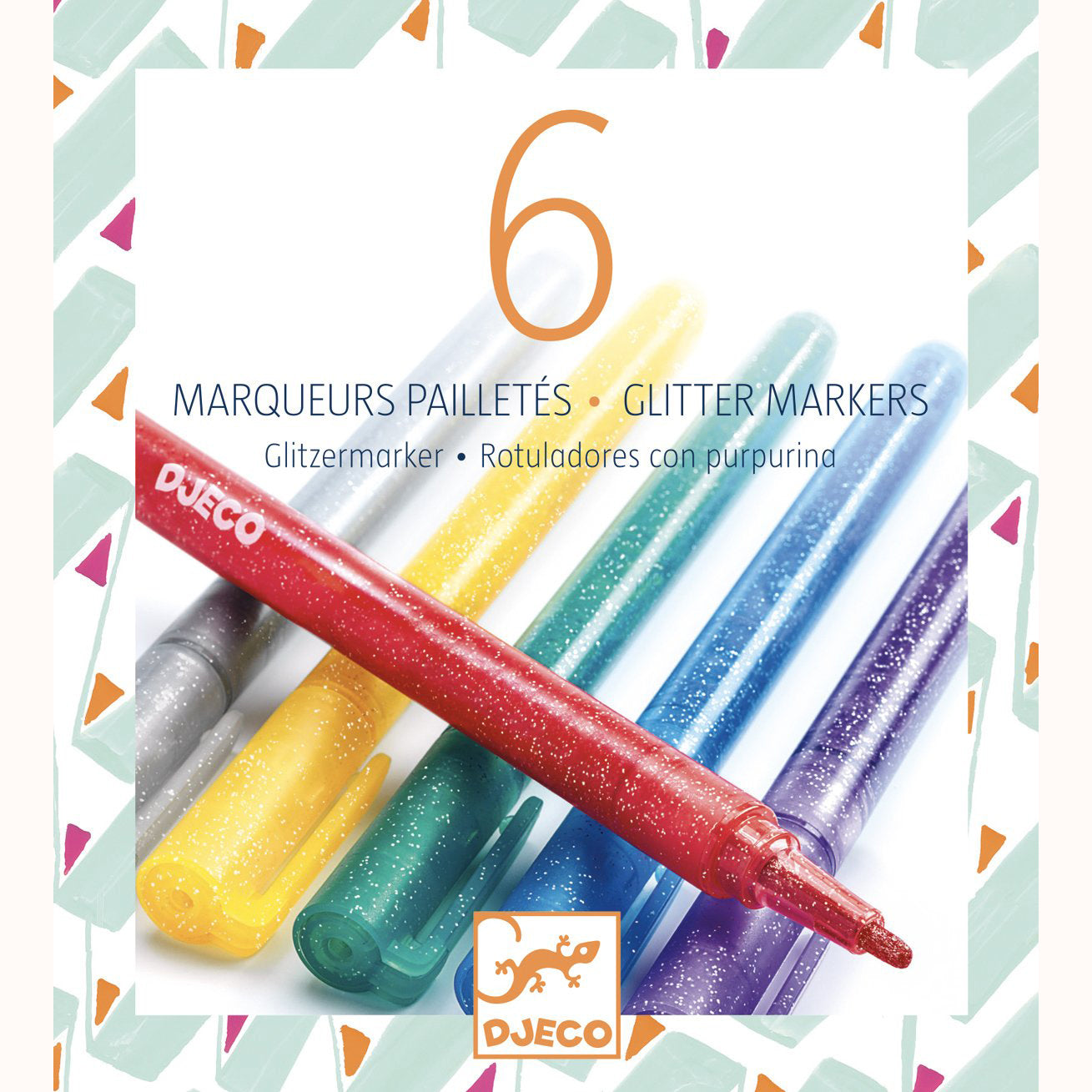 6 Glitter Markers by Djeco, boxed