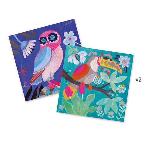 Flamboyant - Sequin Images by Djeco, 2 bird cards