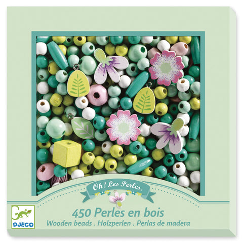 Flowers & Foliage Wooden Beads, front of box