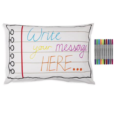 Doodle pillowcase and pens