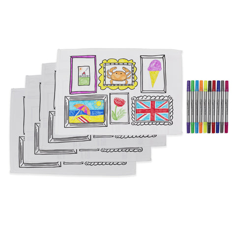 doodle frame placemats x 4 with pens