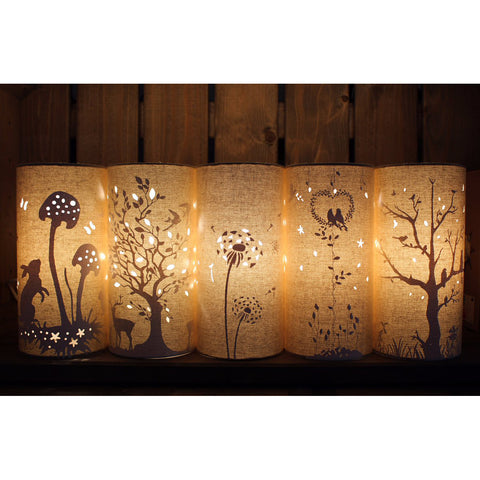 Welink linen light shades in 5 varieties, lit