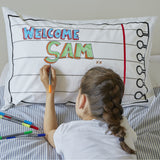 Doodle pillowcase, being drawn on by girl