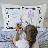 Doodle pillowcase, being drawn on by girl, frame side