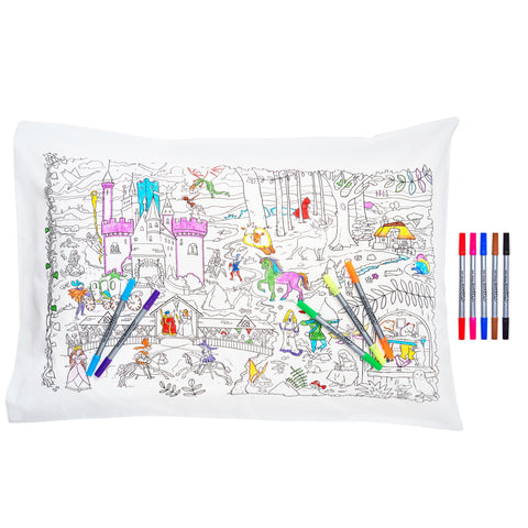 Doodle Fairytales & Legends Pillowcase, colouring illustration side, & pens