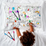 Doodle Fairytales & Legends Pillowcase, colouring illustration side, child & pens