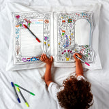 Doodle Fairytales & Legends Pillowcase, writing side, child & pens