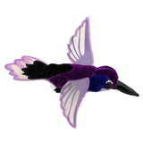 Purple hummingbird finger puppet stock image