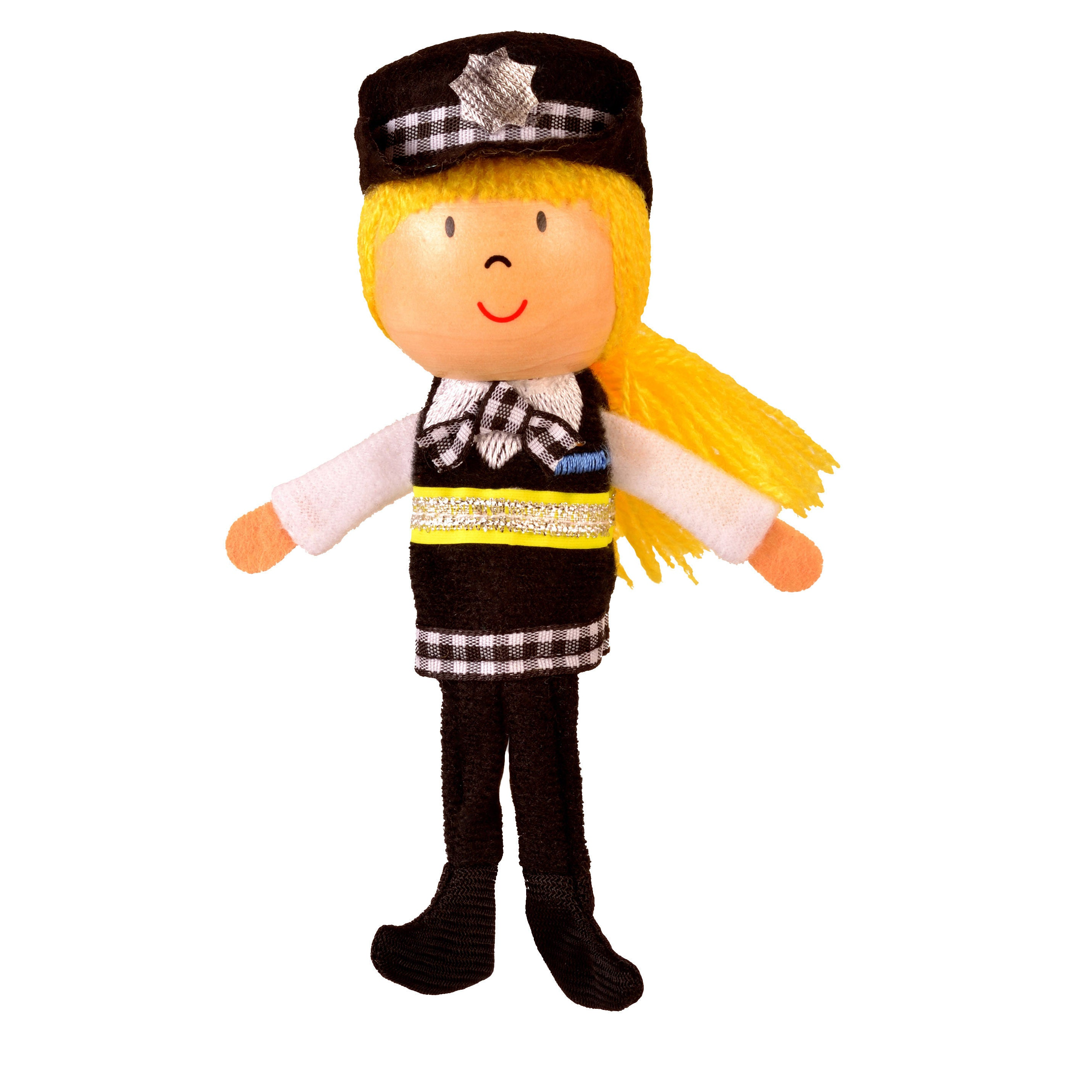 Policewoman finger puppet full length
