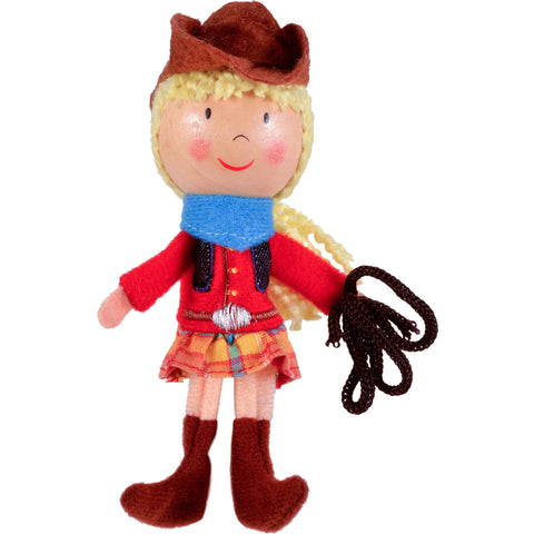 Cow girl finger puppet full length