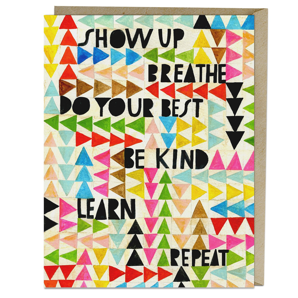 Show Up, Breathe - Greeting Card, with Kraft envelope behind