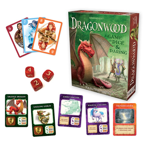 Dragonwood- a Game of Dice & Daring, box and contents