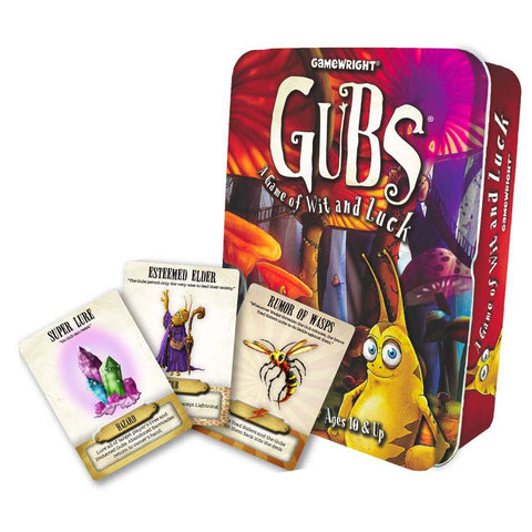 Tin of Gubs and a few sample playing cards
