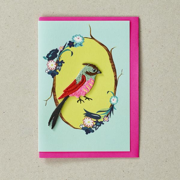 Finch  - Greeting Card with Iron On Patch