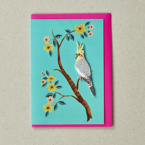 Cockatoo  - Greeting Card with Iron On Patch