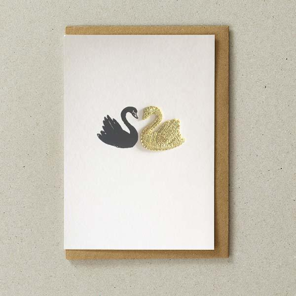 Love Swans  - Greeting Card with Iron On Charm