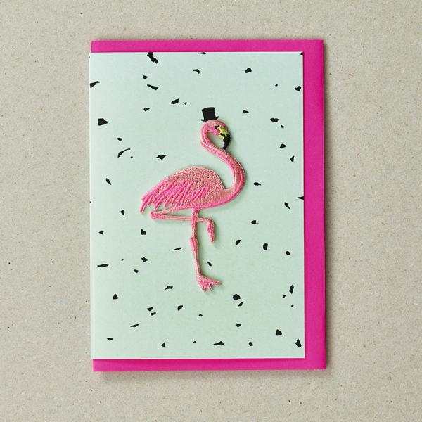 Flamingo Mint  - Greeting Card with Iron On Patch, and envelope