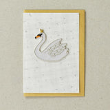 Royal Swan - Greeting Card with Iron On Patch, with gold envelope
