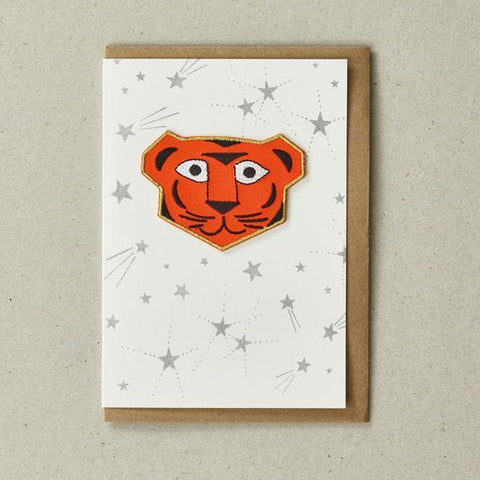Tiger - Greeting Card with Iron On Patch, & craft envelope