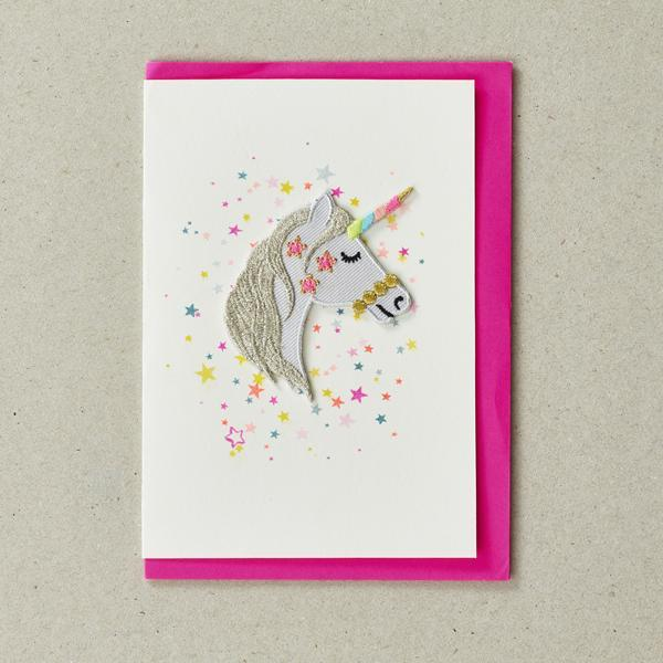 Unicorn - Greeting Card with Iron On Patch & envelope